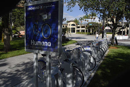 FORT LAUDERDALE FLORIDA STATE USA _    6. october 2013 _City cycle is now popular in usa  here Broward Bcycle parked in National park by Humana