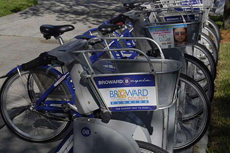 FORT LAUDERDALE FLORIDA STATE USA _    6. october 2013 _City cycle is now popular in usa  here Broward Bcycle parked in National park by Humana     Editorial