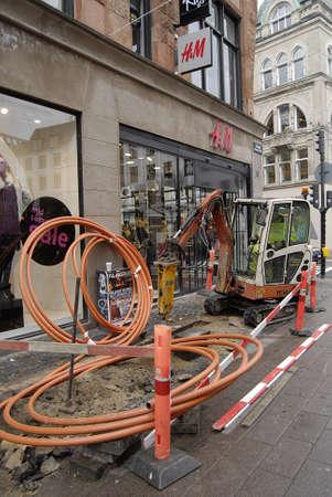 hm: Copenhagen Denmark-  30 October 2013  _digging and wiring work at stroget pedestrain street       Editorial