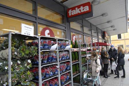 fakta: Copenhagen Denmark-  31 October 2013 _Consumers at Fakta food chain market