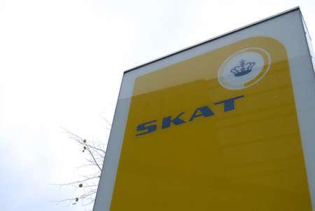 skat: Copenhagen Denmark-  01 November  2013_Skat or danish taxation sign