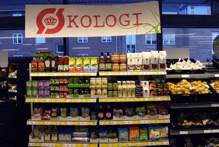 fakta: Kastrup Denmark-  11 November  2013_Organic food on sale at Fakta chain foor market            Editorial