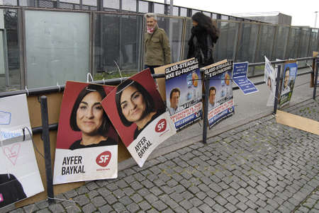 Kastrup Denmark-  15 November  2013  _Posters of candidates for city councils and region counties some of candidates are with mulsim orgins active local politicians  some are from Turkey Pakistan and etc
