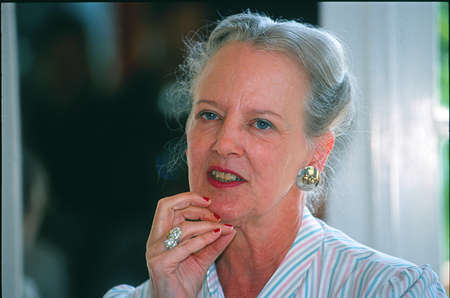 royality: Copenhagen Denmark-  26 jUNE 2001_Queen margrethe at working with player and instructor  lkove story inspired by Hans Christien Andersen love in dustbinshe has design costumes for play  which was premiere at 5 july 2001 at  Pantomimetheater  in Tivoli
