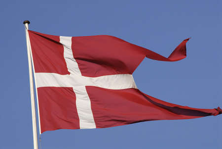 Copenhagen /Denmark-  16 November  2013   _danish flag or dannebrog flys         Stock Photo - 23840953