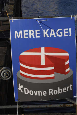 politican: Copenhagen Denmark-  17 November  2013  _Mere kage message from Dovne Robert Robert is new local politican candidate for Copenhagen city council In english translation is Lazy Robert become famsous when danish televsion interview that he demond social s