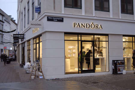 Copenhagen /Denmark-  18 November  2013     _Consumer in Pandora store on stroget      Stock Photo - 23817413