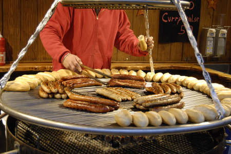Copenhagen /Denmark-  18 November  2013    _German sauasages for sale at christmas market at hojbro plads       Stock Photo - 23817418