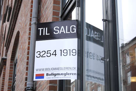 Copenhagen /Denmark-  19 November  2013    _Home sale sign in window          Stock Photo - 23817736
