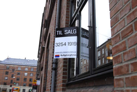 Copenhagen /Denmark-  19 November  2013    _Home sale sign in window       Stock Photo - 23817737