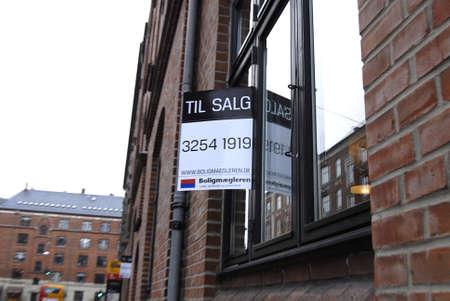 Copenhagen /Denmark-  19 November  2013    _Home sale sign in window       Stock Photo - 23817737