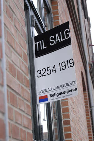 Copenhagen /Denmark-  19 November  2013    _Home sale sign in window         Stock Photo - 23817739
