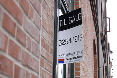 Copenhagen /Denmark-  19 November  2013    _Home sale sign in window          Stock Photo - 23817740