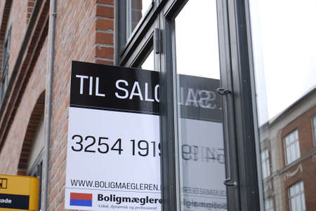 Copenhagen /Denmark-  19 November  2013    _Home sale sign in window       Stock Photo - 23817741
