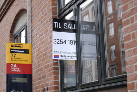 Copenhagen /Denmark-  19 November  2013    _Home sale sign in window         Stock Photo - 23817742