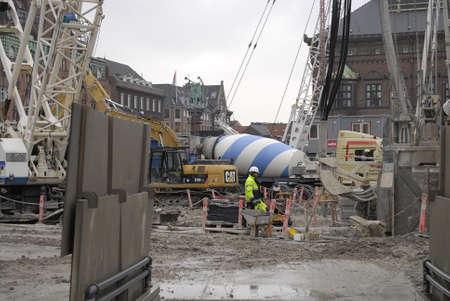 Copenhagen /Denmark-  19 November  2013    Construction site for City hall  sq.metro train        Stock Photo - 23817744