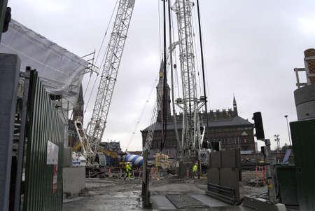 Copenhagen /Denmark-  19 November  2013    Construction site for City hall  sq.metro train      Stock Photo - 23817746