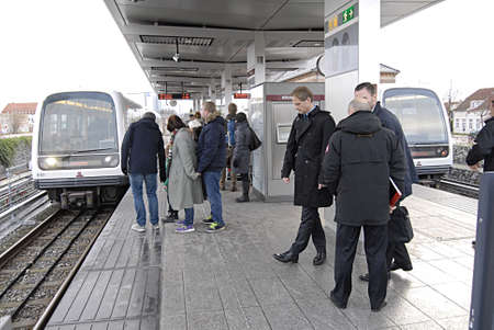 kastrup: Kastrup Denmark-  22 November  2013   _Metro computer train stops at Kastrup metro train station