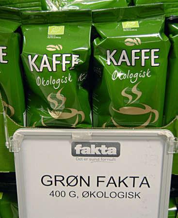 fakta: Kastrup Denmark-  24 November  2013  _Greenbrand organic coffee sells at Fakta food chain