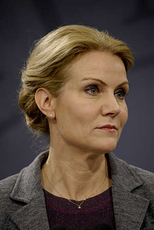 danish prime minister: Copenhagen Denmark-  27  November  2013 _Ms Helle Thorning-Schmidt  holds exstra ordinary press conference  and high light agreement  Danish state annual  budget with opposition party  which is called Blue agreement  she holds press conference at PM offi Editorial