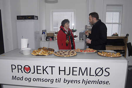 Copenhagen Denmark-  19 December  2013 _Dan Jørgensen (Dan Jorgensen) danish minister for food and agriculture visits  place called _Project Homless   _food and affation till towns homeless food is donation from various food firms org.called stop wasting
