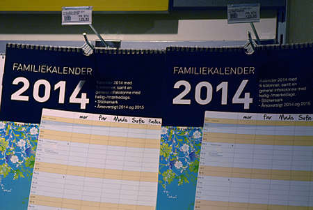 kastrup: Kastrup Denmark-  24 December  2013 _Calander 2014 on sale on book store