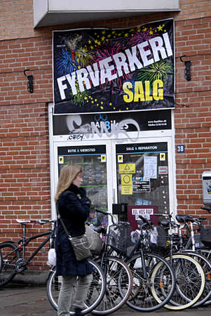 fire crackers: COPENHAGEN Denmark-  28 December  2013  _Fire crackers on sale op till 40% discount sale  for new year cekebration 2014