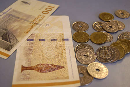 kastrup: Kastrup Denmark-  30  December  2013 _Danish currency tow hundard notes and coins         Editorial