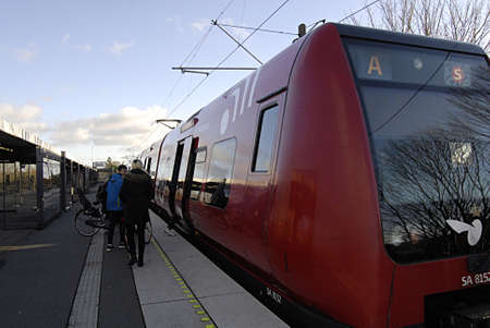 tog: COPENHAGEN Denmark-   12 January 2014    _Danish public train system called DSB S train and net is electric trains in capital