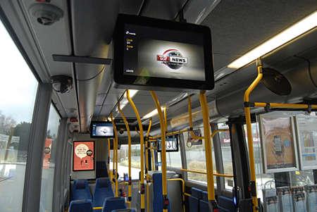 transportaion: COPENHAGEN Denmark-   19 January  2014    _Danish public transport system bus and train runs TV head line from local televsion TV2 news    Editorial
