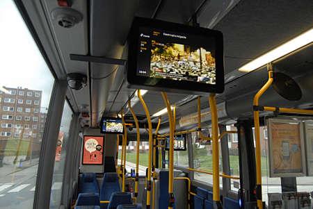 transportaion: COPENHAGEN Denmark-   19 January  2014    _Danish public transport system bus and train runs TV head line from local televsion TV2 news