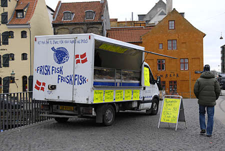 fish selling: COPENHAGEN Denmark-   23 anuary  2014    _Danish mobil fish selling truck moves varioius place in nation         (Photo by Francis Joseph DeanDeanpictures) Editorial