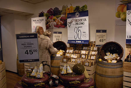 rom: COPENHAGEN Denmark-   25 January  2014  _Daity products cheese and wine and gins and caption morgen rom in food super market chain           Editorial