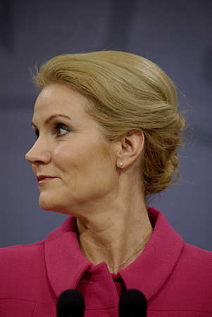 COPENHAGEN DENMARK-  03 February  2014 _Denmarks prime minister Ms. Helle Thorning-Schmidt in pink dress and leader of danish social democrat party  and Ms.Margrethe Vestager vice prime minister and minister for economy and home minister right to prime