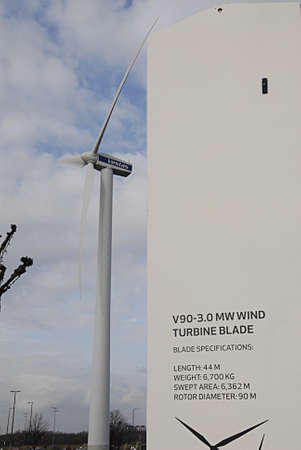vestas: COPENHAGEN DENMARK-  13 February  2014  _Vestas wind turbine givés power to Bella Center      Editorial