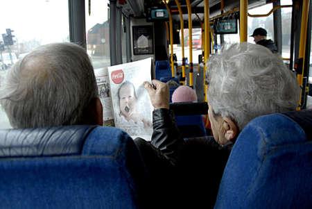 COPENHAGEN DENMARK- Danish senior citizen travling with bus  27 February  2014