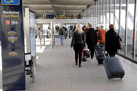travler: KASTRUPCOPENHAGENDENMARK-Metro traveler toward Copenhagen Interntional airport     13 March 2014              Editorial