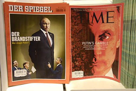 MALMÖMALMOSWEDENSVERIGE- USA media dn German media see Russian president Putin Time magazine and Deer Spiegel on sale in Swedish kiosks or news stands  and in swedish pressebyrå at Malmo train station        13 Marchi 2014
