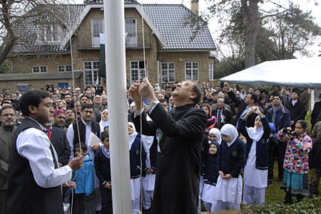 mian: COPENHAGEN DENMARK- Masroor A.Junejo H.E.Ambassador of Pakistan to Denmark performing Pakistan  Flag Hoisting ceremony and reads Message of Pakistan President  Manmoon Husain and Prime minister Mian Mohammad Nawaz Sharif at gether Pakistan day celebrat