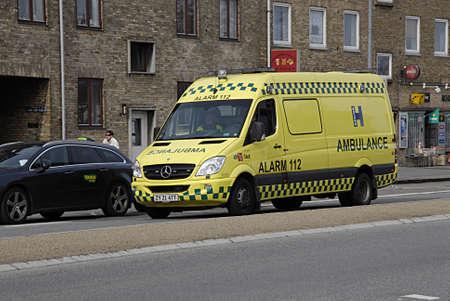 kastrup: KASTRUP COPENHAGEN DENMARK-   Medical amublance and alarm 112 sign       25 March 2014