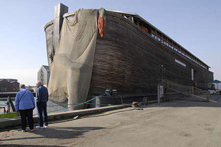 holand: KOGE (K�GE) DENMARK- Noahs ark ship duck at Koge danish provience town Noahs ark is floating bible stories about Noa and his ark animals and human in ark ship Noas ark is 70 metters long 10 meter wide 13 meter height and and build this ark needs 1200 FSC