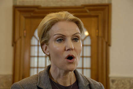danish prime minister: COPENHAGEN DENMARK-  Ms.Helle Thorning-Schmidt prime minister talking to media at christiansborg after question time in danish parliament regarding Child allowance, prime minister is under pressure from oppostion parties and her own lord mayor to discuss