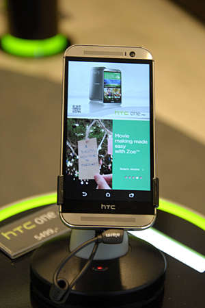htc: COPENHAGEN  DENMARK- HTC Smasrtphone display at HTC phone show        07 April 2014