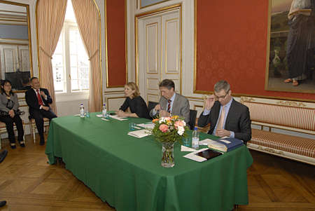 prince of denmark: COPENHAGEN DENMARK-Natyional press briefing at Royal court Yellow Palae  State visit of China of H.M.The Queen Margrethe II and Prince Henrik of Denmark press briefing by from left  Ms. Lene Balleby Roayl communication and Presscheif (c) Chamberlain Ove