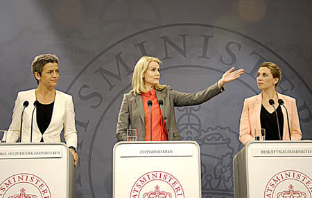 pm: COPENHAGEN DENMARK- Ms.Helle Thorning-Schmidt dnish prime minister holds joint press conference with other two minister from her cabinet her PM right Ms.Margrethe Vestager (in white dress)minister for economy and home minister and at left Ms.Mette Freder