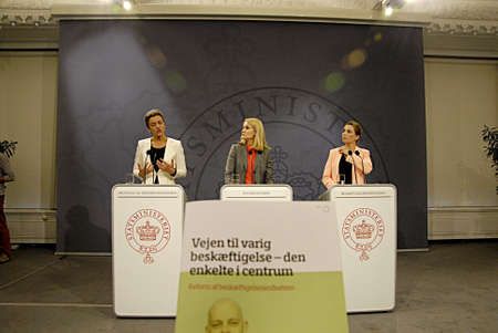 COPENHAGEN DENMARK- Ms.Helle Thorning-Schmidt dnish prime minister holds joint press conference with other two minister from her cabinet her PM right Ms.Margrethe Vestager (in white dress)minister for economy and home minister and at left Ms.Mette Freder