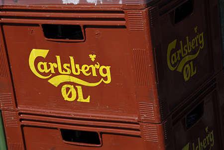 carlsberg: COPENHAGEN DENMARK-  Danish carlsberg beer boxes       29 April 2014