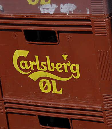 carlsberg: COPENHAGEN DENMARK-  Danish carlsberg beer boxes       29 April 2014   Editorial