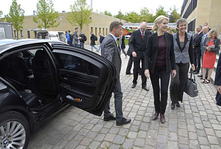 techincal: LYNGBYCOPENHAGEN DENMARK- Ms.Helle Thorning-Schmidt danish prime minister and scoail democrat visits qlong with vice prime minister and liberal progress Ms.Margrethe Vestager minister for economy and home minister visits Technical Univeristy of Copenhag