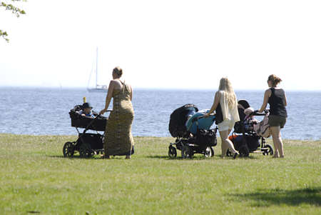 sun bathers: KASTRUP COPENHAGEN DENMARK- Sun bathers and swimmers and beach life at Amage Strand Park today on         06 July   2014   Editorial